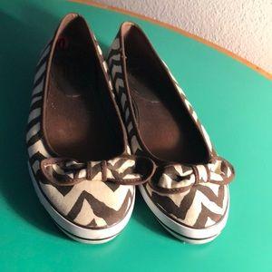 Coach Brown & Cream Striped Ballet Flats. Sz 10